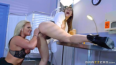 Lesbian doctor visit with Dani Daniels and Phoenix Marie giving her ass a tongue exam