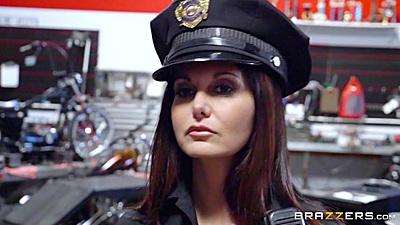 Police uniform milf Ava Addams kneels to give oral