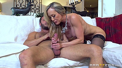Cock for hire gets milf to jerk some dick with Brandi Love