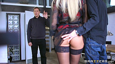 Blonde milf Kayla Green wearing sexy lingerie and putting dick in mouth