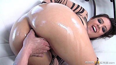 Ass oiled and gonzo anal fuck with ripped bodystocking whore