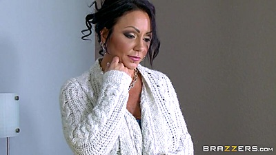 Irresistible milf Ashton Blake shows off her pierced nipples and touched