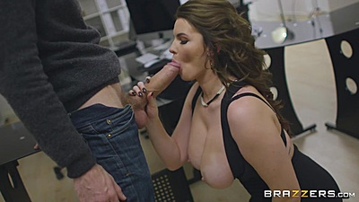 Big dick office oral with large melons Tasha Holz