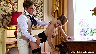 Upper class standing fuck over a piano with Erica Fontes