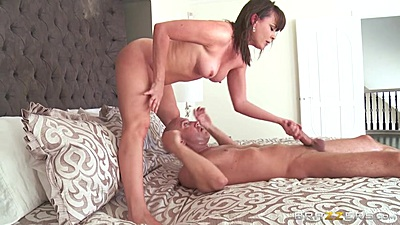 Bedroom dick jerking and reverse cowgirl fuck with Dana DeArmond