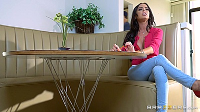 Brandy Aniston fully clothed in tight pants gets roughed up