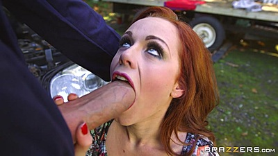 Big dick cock sucking with Ella Hughes barely fitting cock in mouth outdoors