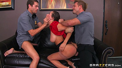 Security guards catch Ashley Adams and rough fuck in threesome