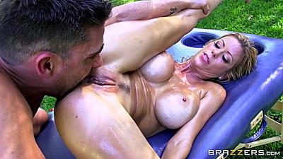 Oil dripping big boobs milf Alexis Fawx having nice stepmom bang