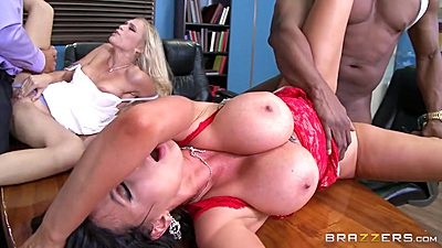 Divorce court in session with Nikki Benz and Alex Grey doing foursome