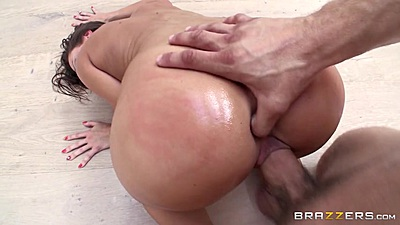 Abigail Mac gets a thumb up her ass during pussy fuck on floor