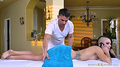 Smocking hot brunette Rachael Madori getting ready for oil massage