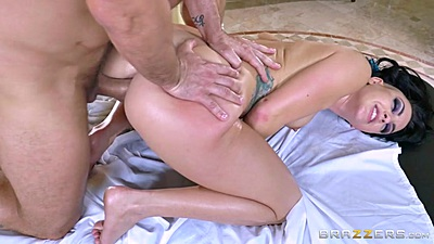Ass fucked with hairy natural boobies Rachael Madori during private oil massage