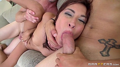 Threesome rough plowing with natural boobies Jade Jantzen