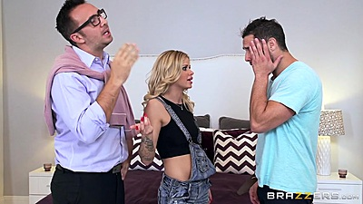 Blonde threesome with Jessa Rhodes screwing friends father