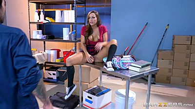 Abigail Mac caught masturbating in janitors closet so she sucks him