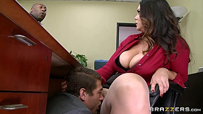 Eating fresh cunt under office table with Alison Tyler