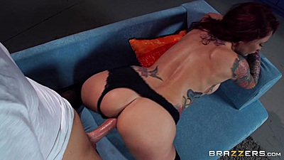 Big cock and redhead skank Monique Alexander fuck from behind