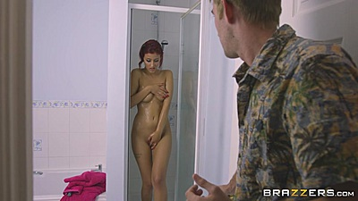 Friendly Aylin Diamond exiting her shower then sex up a wall