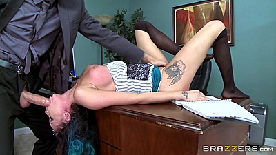 Reverse blowjob with large cock for half dressed spanked secretary Raven Bay