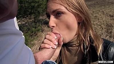 Euro cock sucking for some cash in public with fully clothed Ivana Sugar