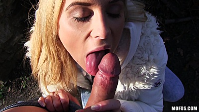Blonde girl Cristal Caitlin agrees to suck dick and have intercourse for cash outdoors