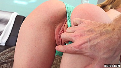 Nice lingerie showing off blonde Molly Mae gets fingered and blows cock