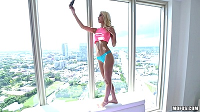 Skinny petite Uma Jolie taking selfies