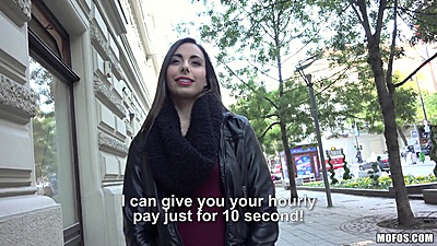 Public amateur pick up with Carla Cross flashing some tits for cash