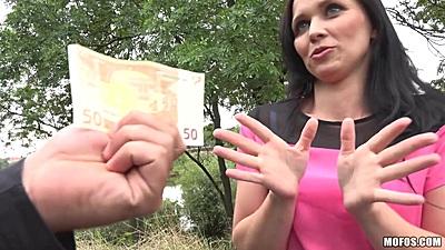 Mischievous brunette Joanna Black wants some money to get groped in public