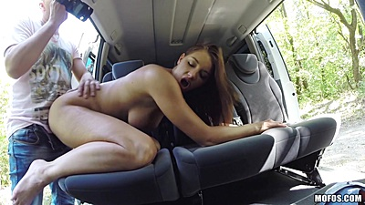 Backseat rear entry with natural boobs hitchhiking student Felicia
