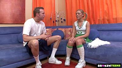 Lovely blonde teen cheerleader in uniform Ally Kay giving head