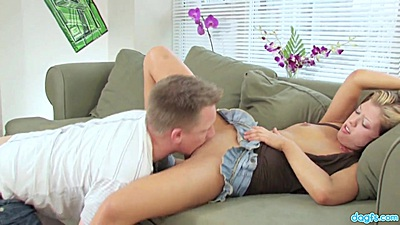 Frisky blonde Brooke gets eaten out then goes down to suck cock for cam