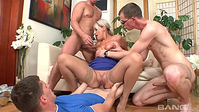 Sitting on cock and multiple cocks in mouth with euro mom Gilda