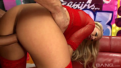 Rough riding from behind sex with fishnet whore Jessica finished off with a touch of cum on face
