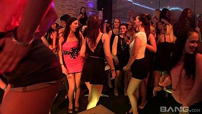 Dancing amateur whores at club