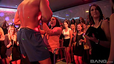 Male stripper gets naked for happy euro ladies