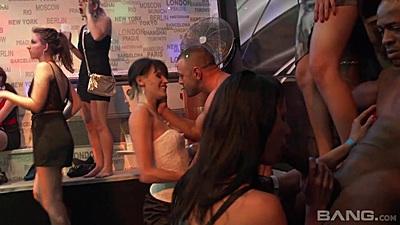 Interracial male stripper club dancing orgy