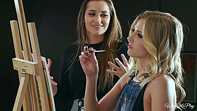 Dani Daniels and Karla Kush with Crystal Clark take an art class