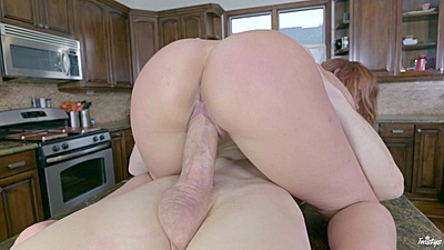Fantastic cowgirl riding on kitchen table with fair skinned Sabrina Cyns