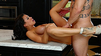 Tight fitting vagina sex with spread legs on kitchen table Luna Star