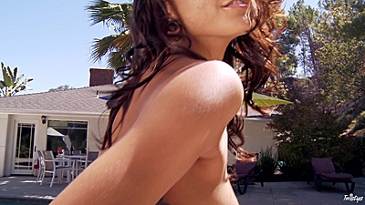 Posing and getting wet by the pool with lovely Janice Griffith outdoors