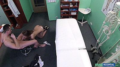 Cock sucking nurse Alexis paying the technician with sexual favors