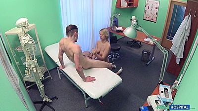 Jerking cock dirty nurse Nikky Dream fucked right on doctors desk