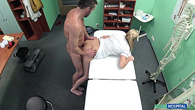 Standing fuck over hospital bed with nurse Nikky Dream nailed by handyman