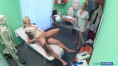 Bianca and Nikky Dream nurse participates in couple sex threesome in doctors office