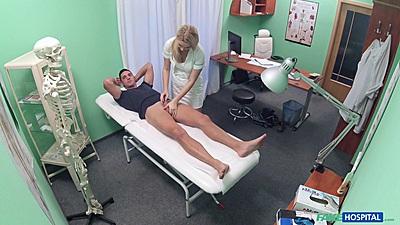 Foxy nurse handjobs a patient