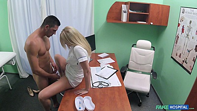 Blonde nurse gets a quickie fuck from patient in doctors office