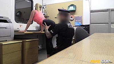 Corrupt blonde Holly is pulled over by cock at the office