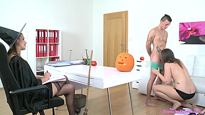 Married couple going down each other with agent Alexis Emilia observing
